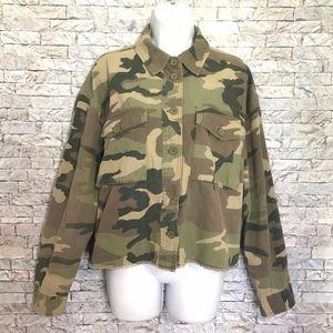Forever 21 Camo Green Military Crop Raw Hem Jacket